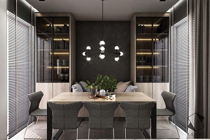 Sala de jantar com cadeiras confortáveis