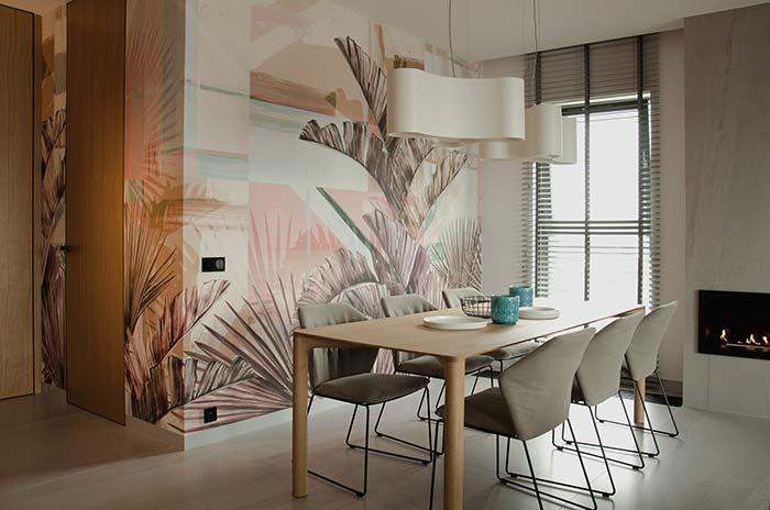 Papel de parede para valorizar a sala de jantar