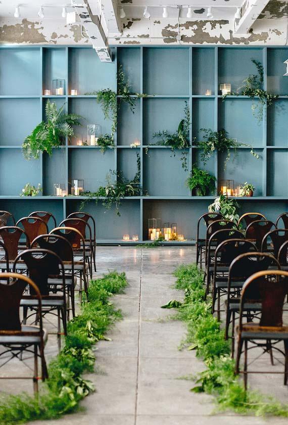 Plantinhas e velas no mini wedding