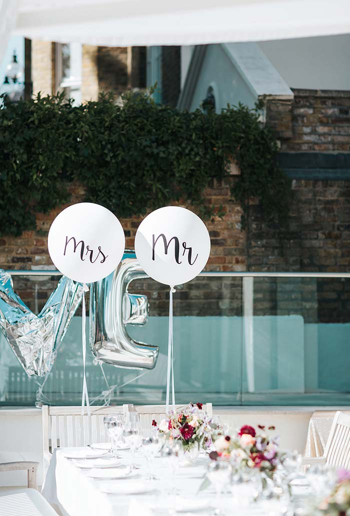 Balões especiais para os noivos