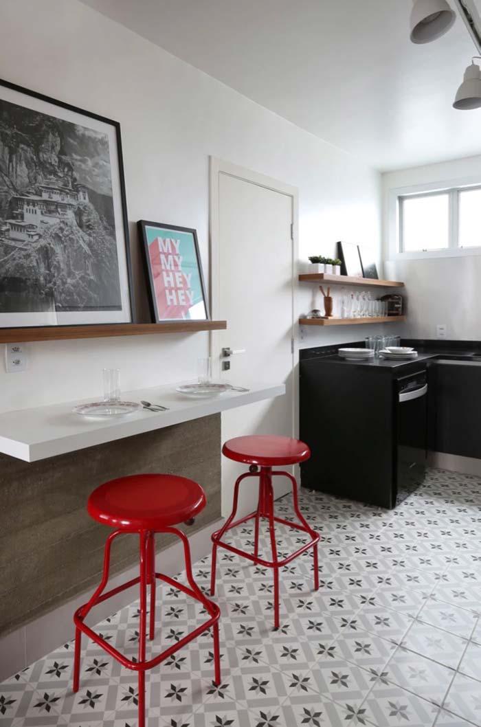Vermelho na cozinha decorada