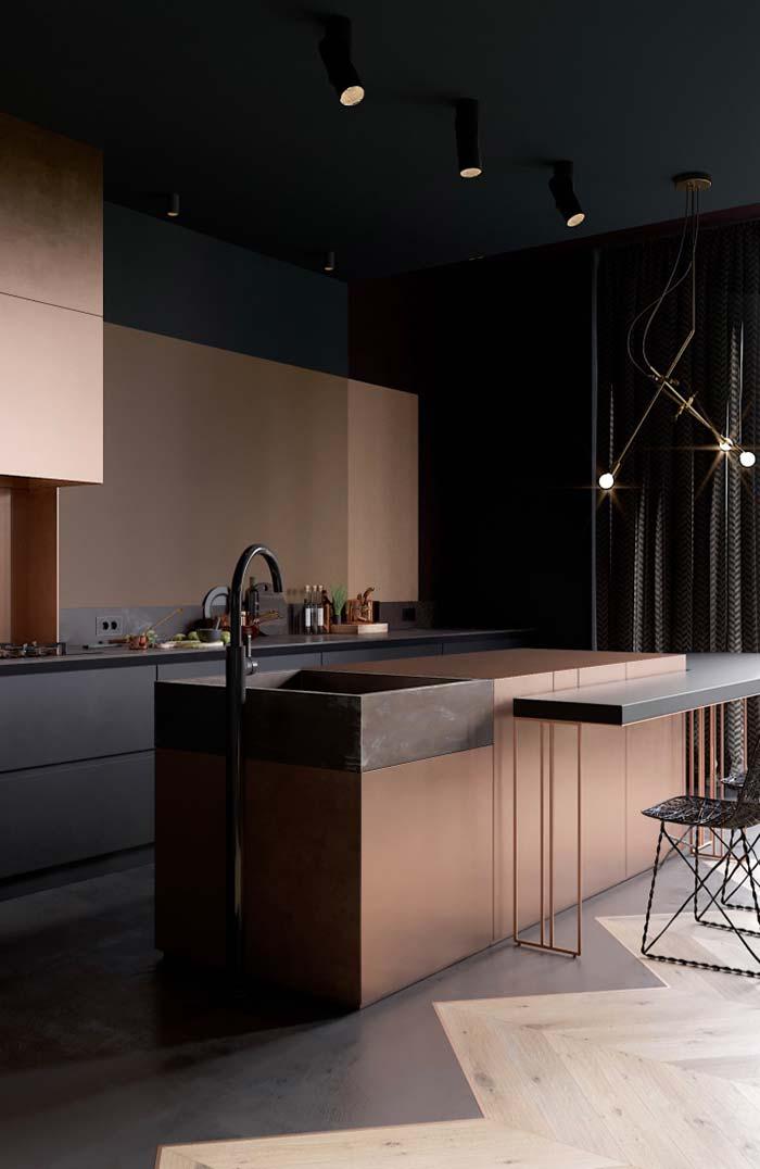 Cozinha preta elegante com detalhes em cobre