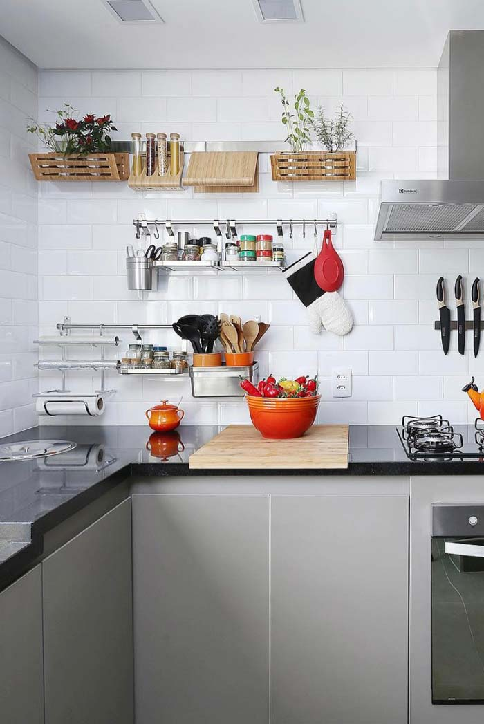 Decoração com suportes na cozinha decorada