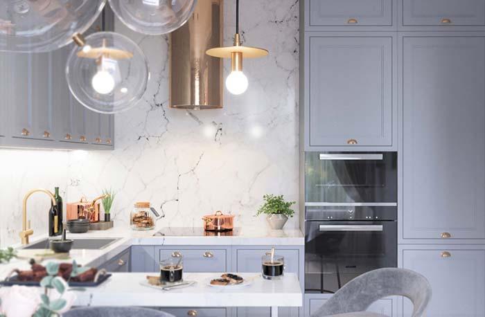 Cozinha decorada luxuosa