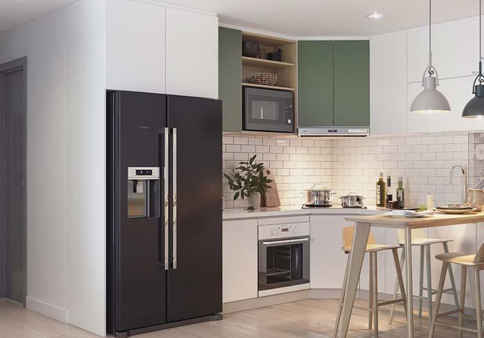Cozinha decorada com armário verde musgo