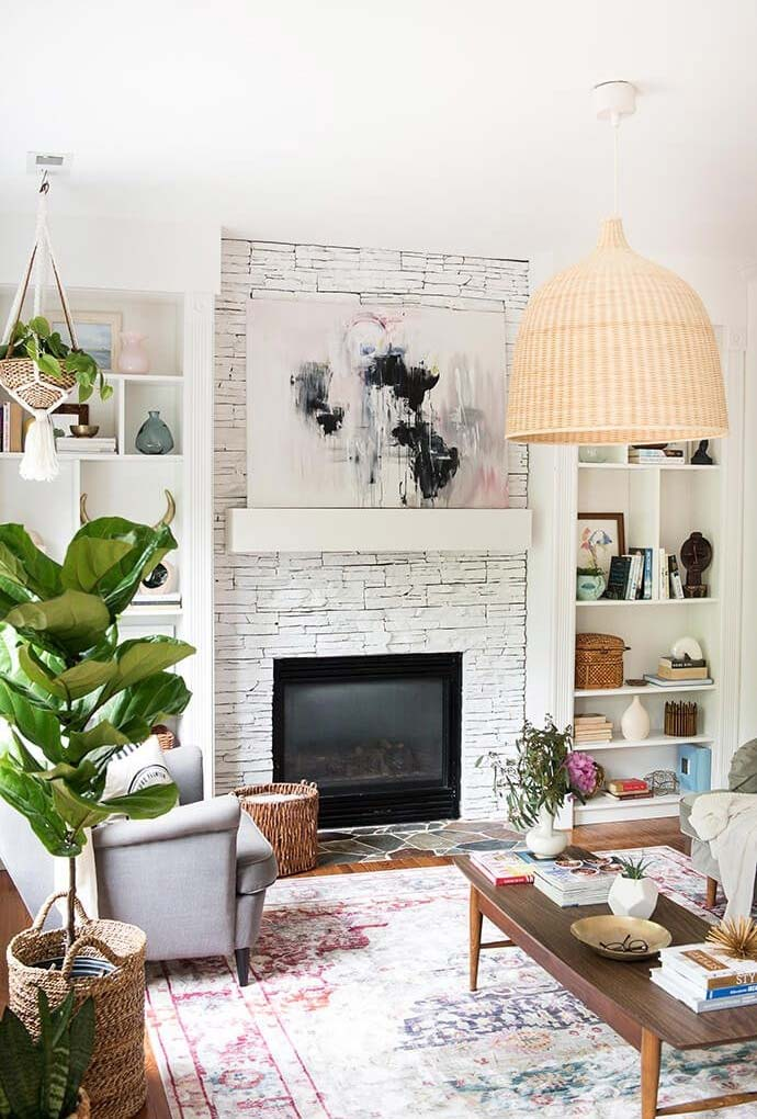 Sala de estar lareira num clima contemporâneo