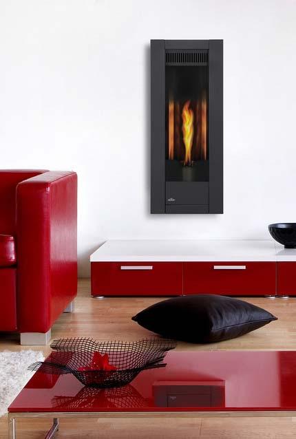 Sala com lareira ecológica vertical