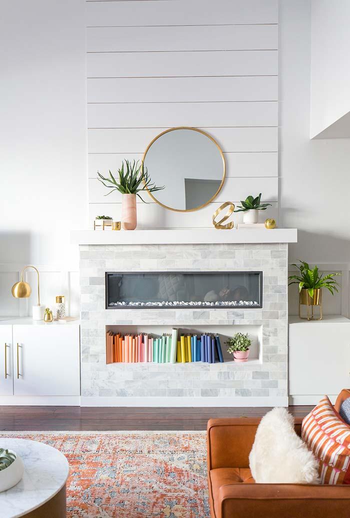 Lareira ecológica com espaço para nicho de decoração