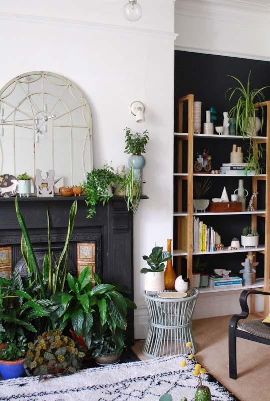 Lareira na sala e decoração com vasos de plantas