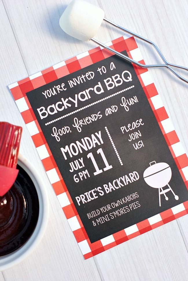 Ideia para um convite de churrasco de quintal