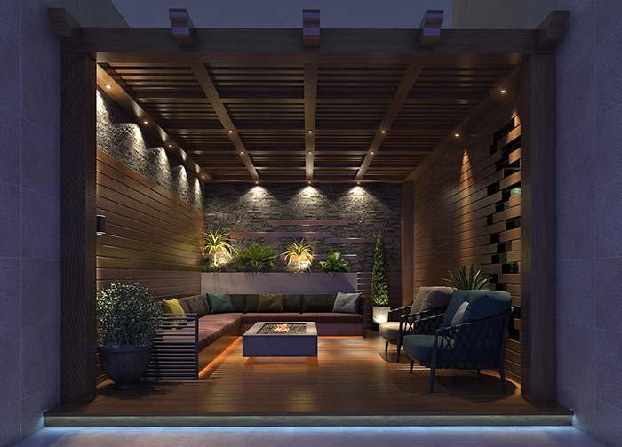 Área externa toda em madeira