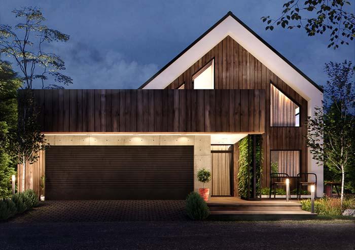 Casa pré-fabricada com estilo tradicional