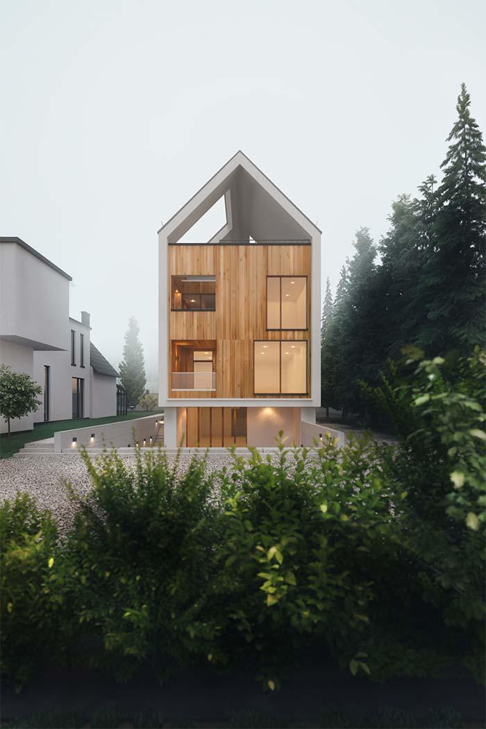 Módulo em madeira com estrutura de concreto