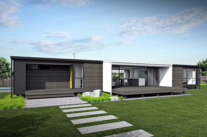 Casa pré-fabricada com ambientes amplos e integrados