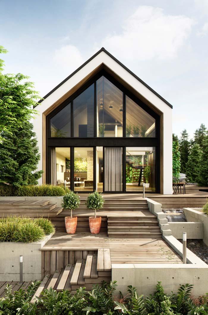 Casa pré-fabricada com telhado duas águas