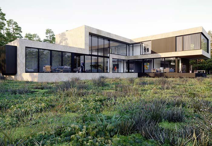 Casa pré-fabricada em terreno amplo