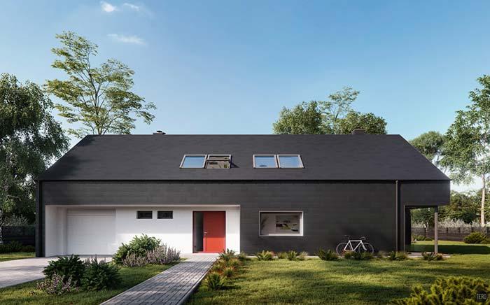 Casa pré-fabricada com fachada preta