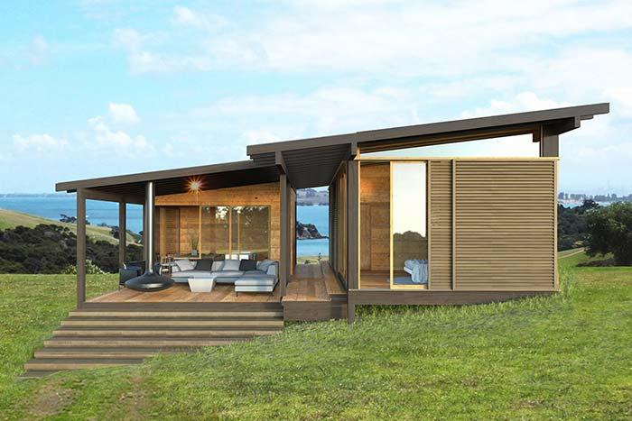 Casa de campo feita com método pré-fabricado