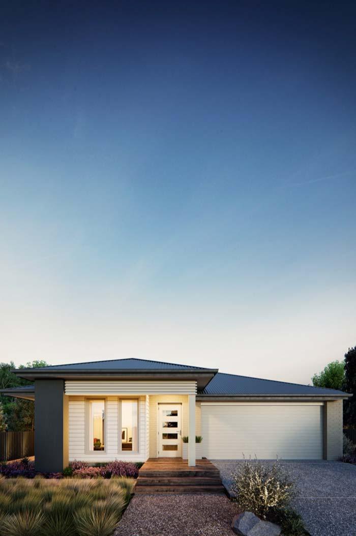 Casa pré-fabricada térrea com telhado tradicional