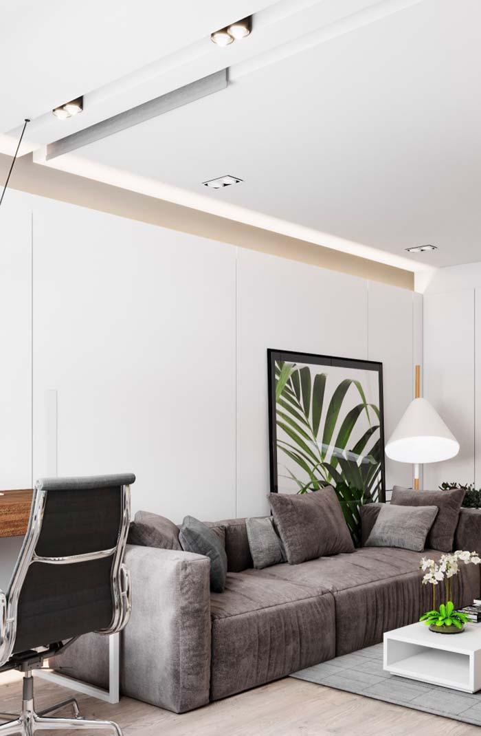 Nesse projeto, o forro está no teto e nas paredes