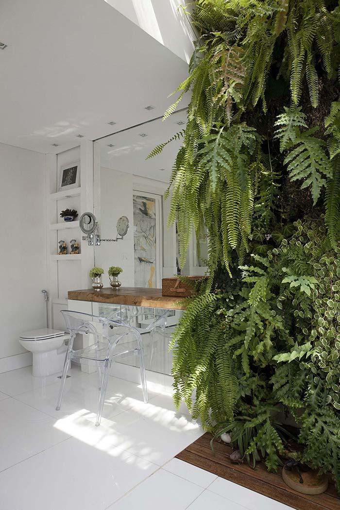 Banheiro com jardim vertical de samambaias