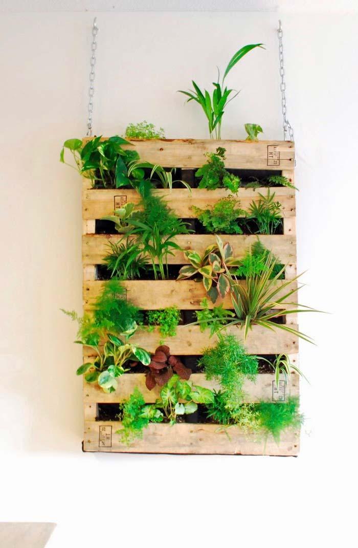 Horta vertical em pallet