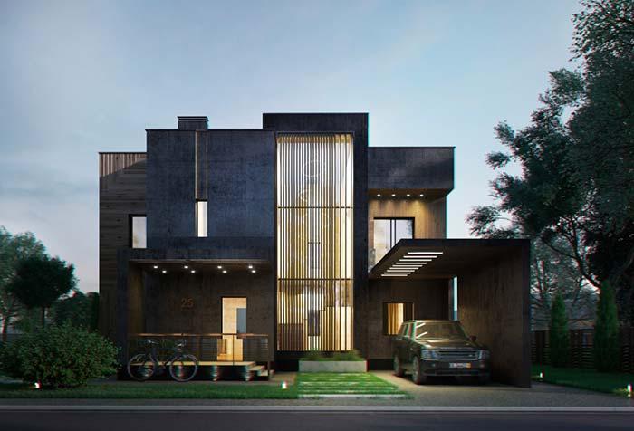 Modelo de casa com concreto em duas cores