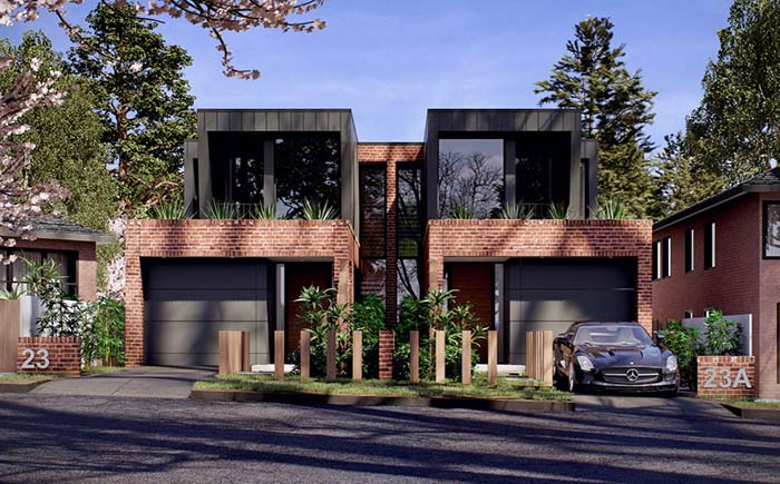 Modelos de casa geminada de estilo rústico e moderno