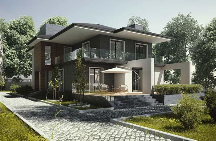 Modelos de casas: telhado e paredes na mesma cor