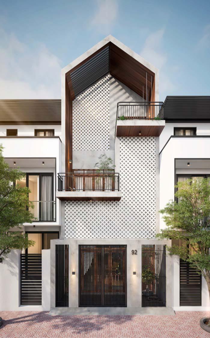 Modelo de casa de visual moderno com elementos clássicos