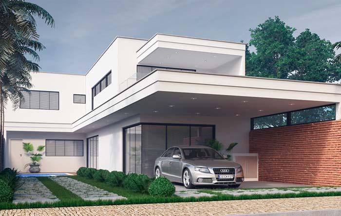 Modelo de casa de dois andares com platibanda
