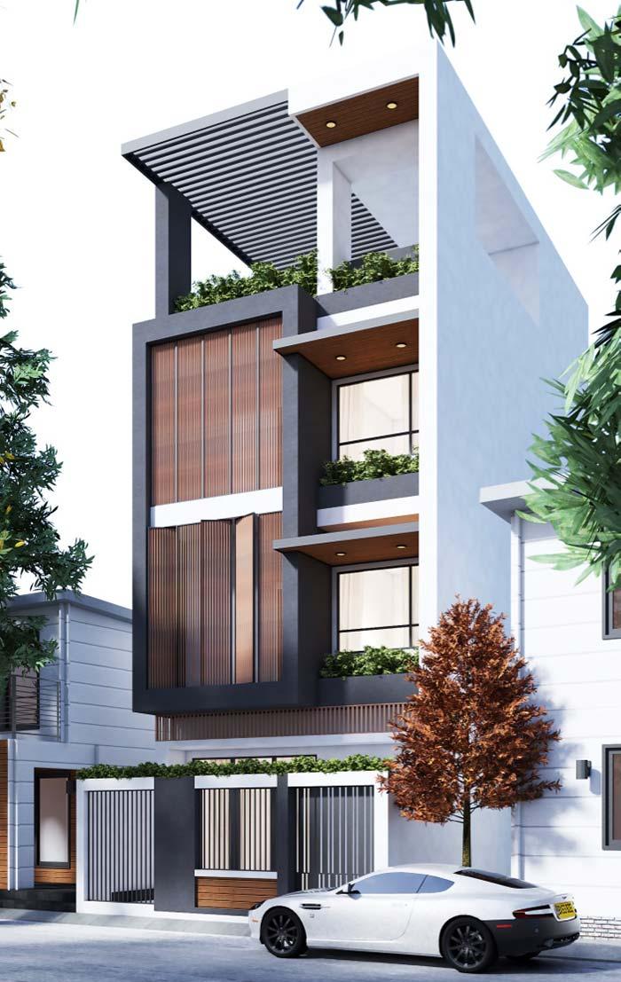 Modelo de casas de três andares