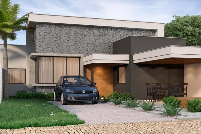 Modelo de casa: textura na parede realça a construção