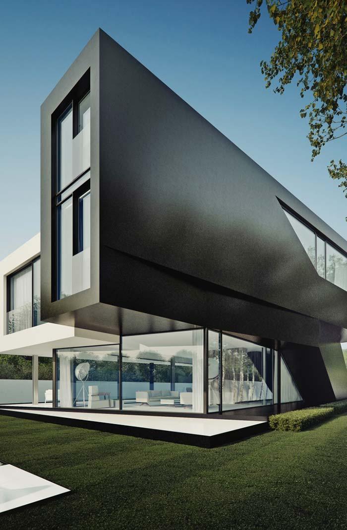 Modelo de casa com revestimento preto
