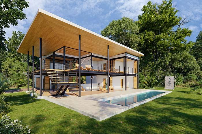 Modelo de casa com estrutura moderna