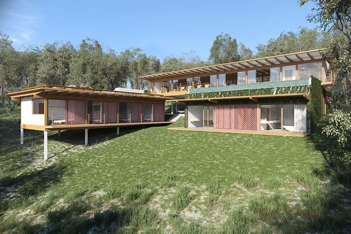 Casa de praia com telhado de madeira