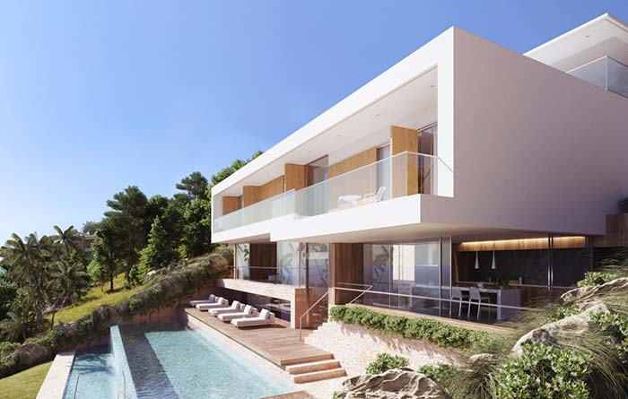 Modelo de casa de praia com arquitetura clean