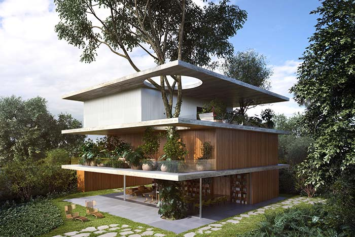 Uma árvore por dentro do modelo de casa
