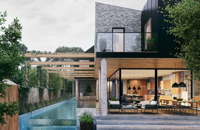 Casa com piscina retangular