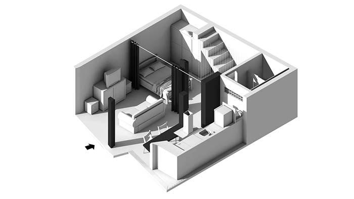 Projeto 3D de quarto com suíte