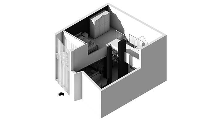 Modelo de projeto 3d de casa com 3 quartos