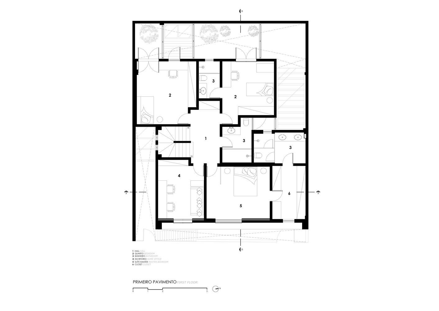 Planta de casa com 3 quartos