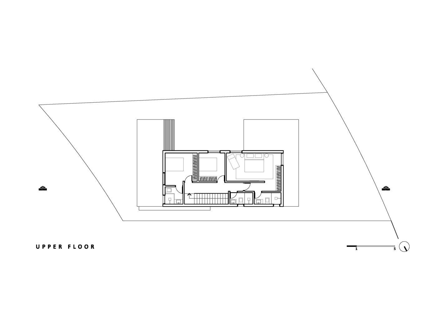 Modelo de planta de casa com fachada em concreto