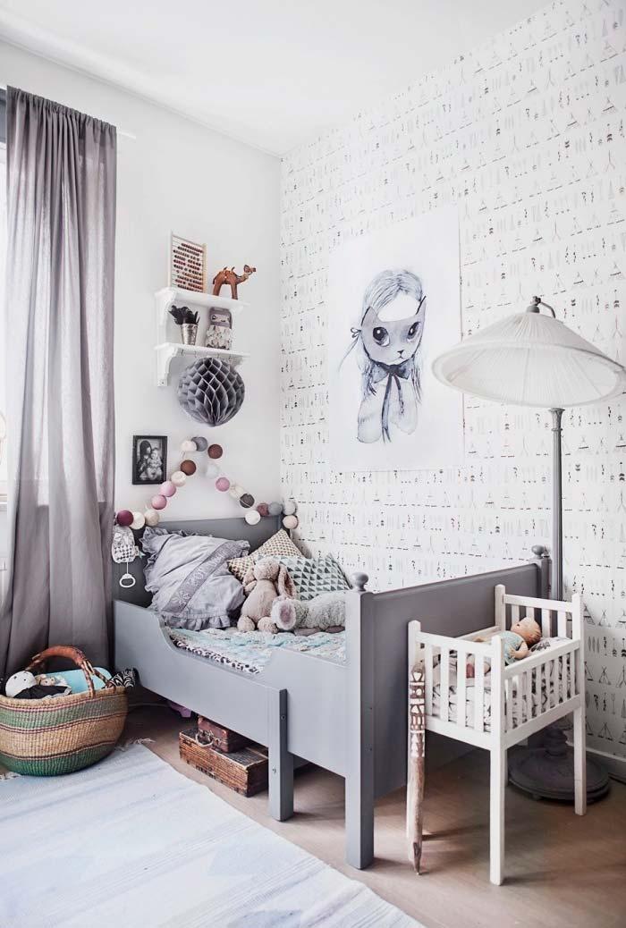 Branco e cinza para um quarto num estilo neutro nos móveis e paredes