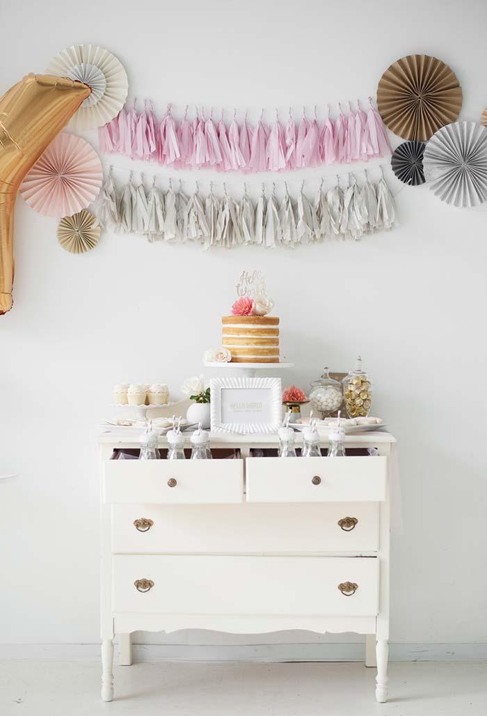 Mesa de docinhos para chá de bebê