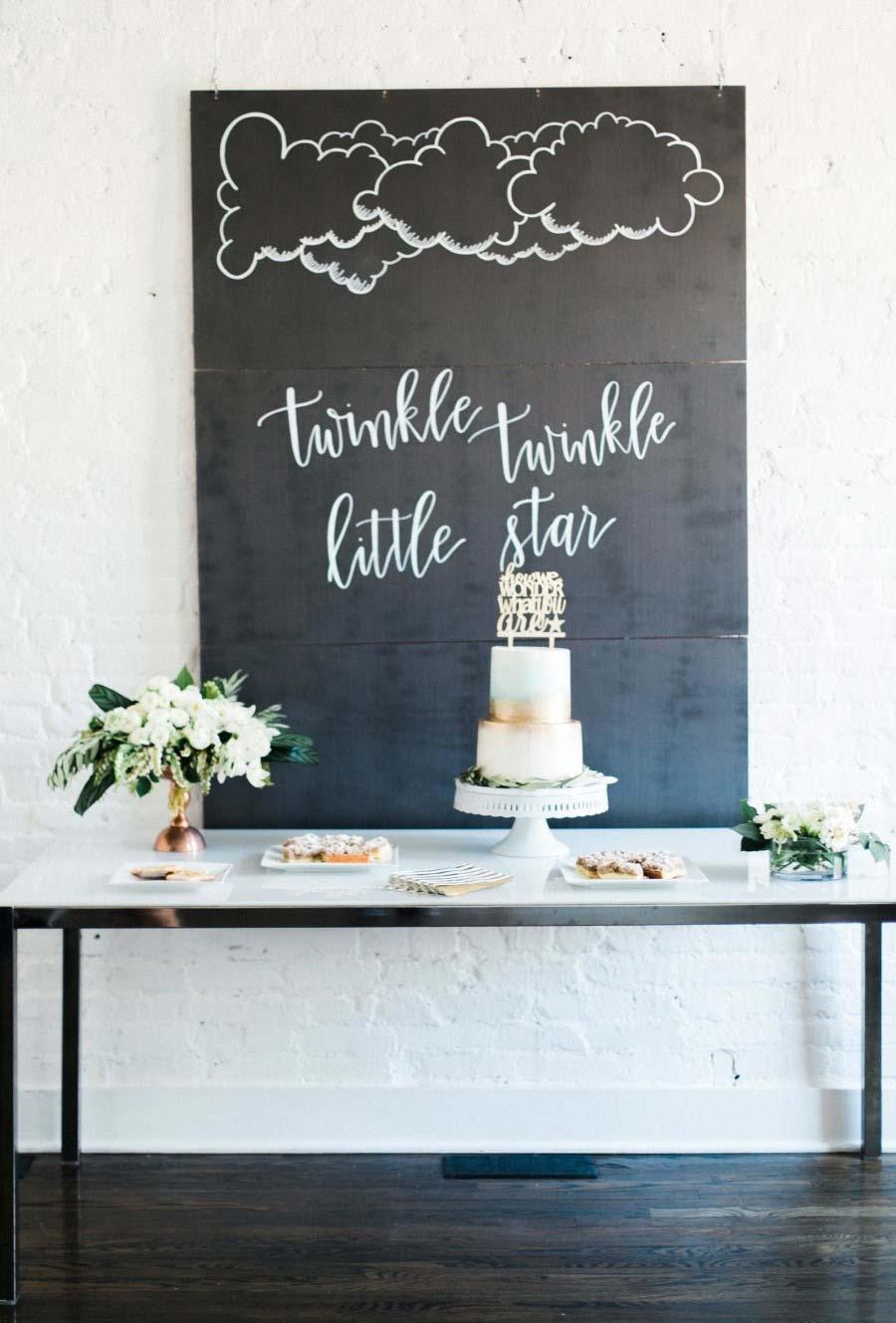 Mesa do bolo com painel tipo lousa