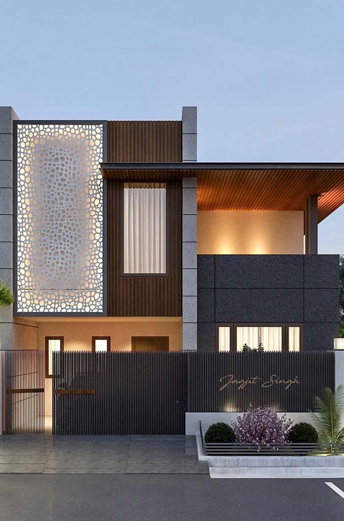 Casas modernas 100 modelos por fora por dentro e fotos for Fachada de casas modernas lujosas