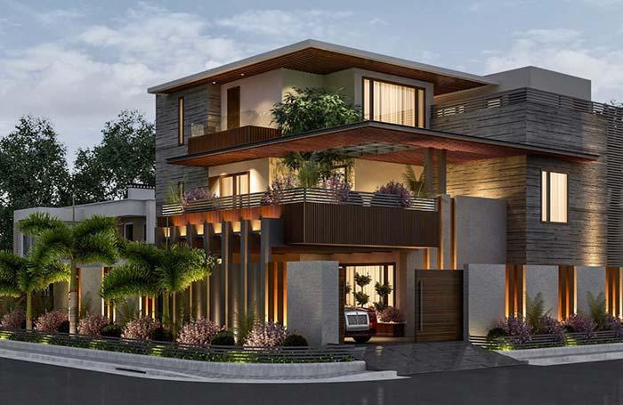 Iluminação externa valoriza a casa em todos os momentos do dia.