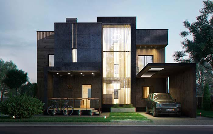 Pintura dessa casa foi feita diretamente sobre o concreto sem acabamento