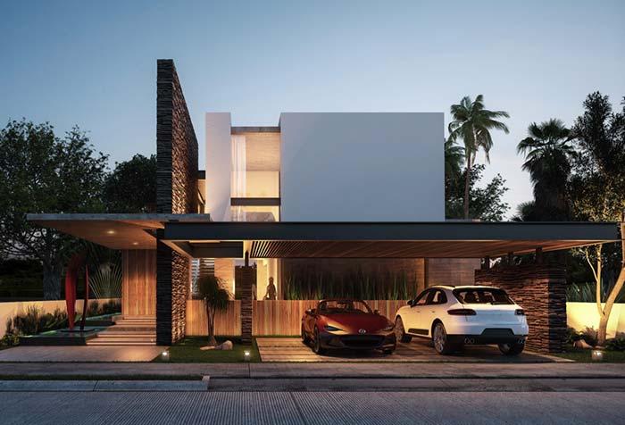 Casa moderna de formas retas e sem recortes